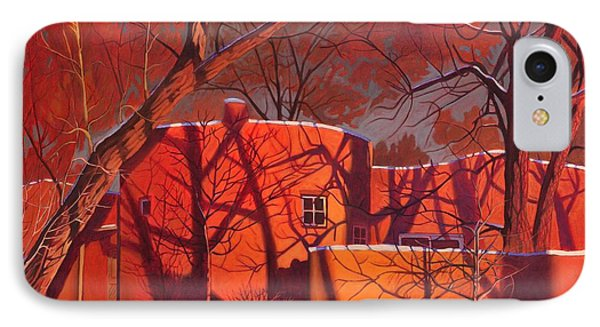 Evening Shadows On A Round Taos House Phone Case by Art James West