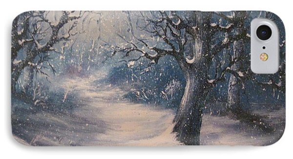 IPhone Case featuring the painting Evening Snow by Megan Walsh