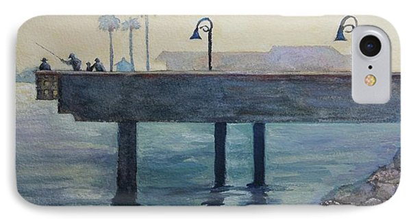 IPhone Case featuring the painting Eventide At The Oceanside Harbor Fishing Pier by Jan Cipolla