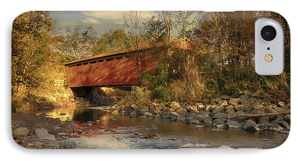 Everett Rd Summit County Ohio Covered Bridge Fall Phone Case by Jack R Perry