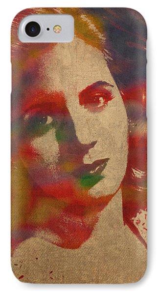 Evita Eva Peron Watercolor Portrait On Worn Distressed Canvas IPhone Case