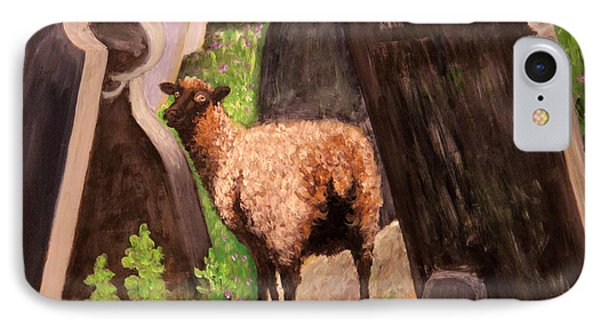 IPhone Case featuring the painting Ewe Spooked? by Janet Greer Sammons