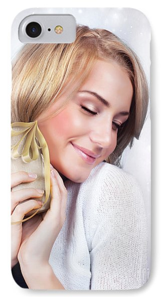 Excited Woman With Gift Box IPhone Case