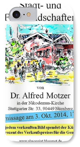 IPhone Case featuring the painting Exhibition In Nuremberg by Alfred Motzer