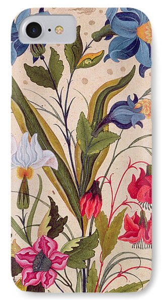 Exotic Flowers With Insects IPhone Case by Mughal School