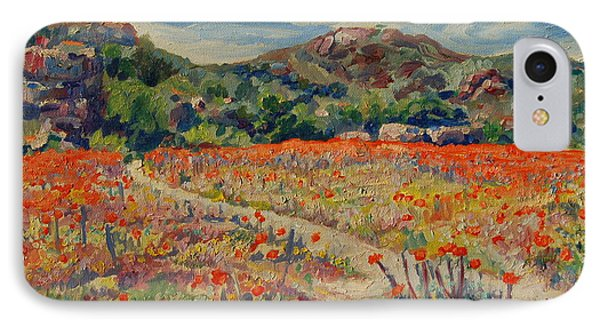 IPhone Case featuring the painting Expanse Of Orange Desert Flowers With Hills by Thomas Bertram POOLE