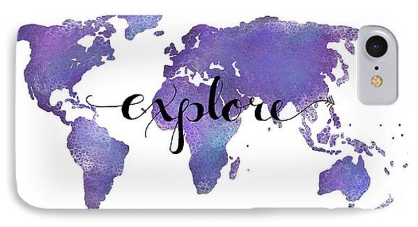 Explore World Map Painting IPhone Case by Michelle Eshleman