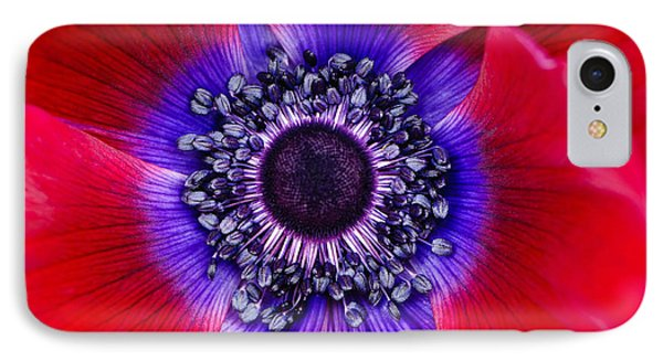 Extreme Macro Of A Red Anemone Poppy Phone Case by Oscar Gutierrez