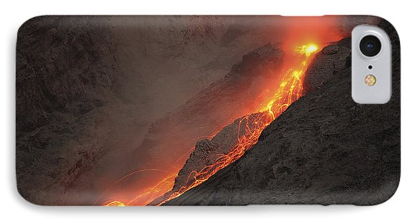 Extrusion Of Lava On Glowing Rockfalls Phone Case by Richard Roscoe
