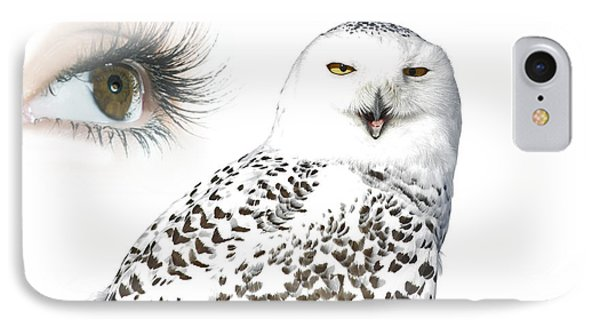 Eye Of Purity And The Mysterious Snowy Owl  Phone Case by Inspired Nature Photography Fine Art Photography