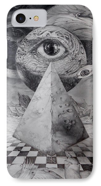 IPhone Case featuring the drawing Eye Of The Dark Star - Journey Through The Wormhole by Otto Rapp