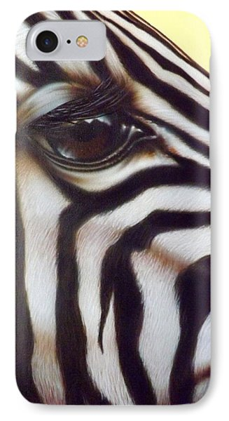 IPhone Case featuring the painting Eye Of The Zebra by Darren Robinson