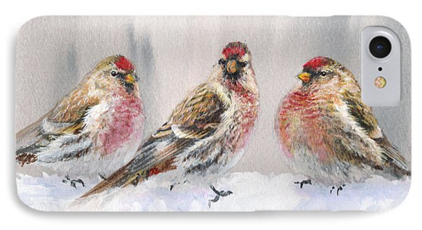 Snowy Birds - Eyeing The Feeder 2 Alaskan Redpolls In Winter Scene IPhone Case by Karen Whitworth