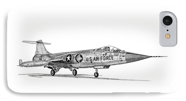 IPhone Case featuring the drawing F-104 Starfighter by Arthur Eggers