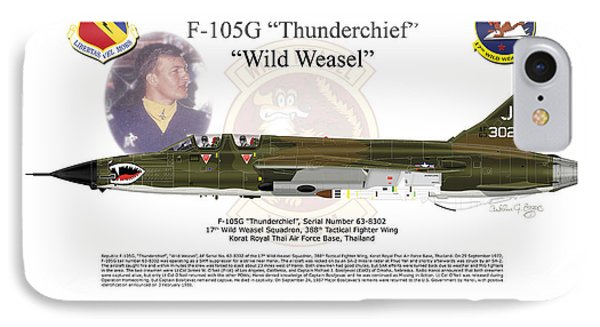 IPhone Case featuring the digital art F-105g Thunderchief Wild Weasel by Arthur Eggers