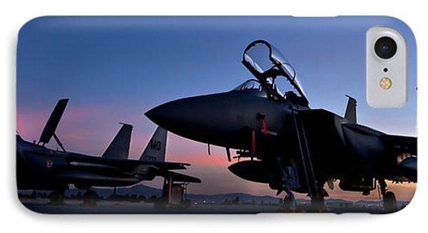 F-15e Strike Eagles At Dusk IPhone Case by Adam Romanowicz