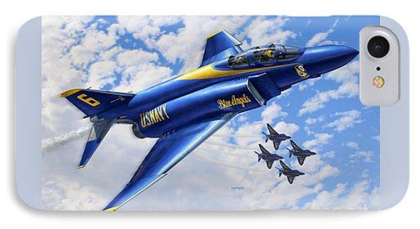 F-4 Phantoms In Blue IPhone Case by Stu Shepherd