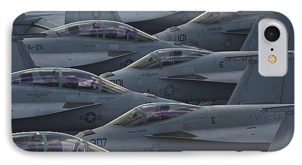 Fa18 Super Hornets Sit On The Flight Deck Of The Aircraft Carrier Uss Enterprise  Phone Case by Paul Fearn