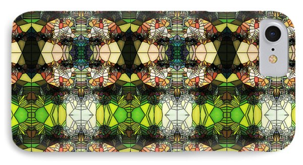 IPhone Case featuring the photograph Face In The Stained Glass Tiled by Clayton Bruster