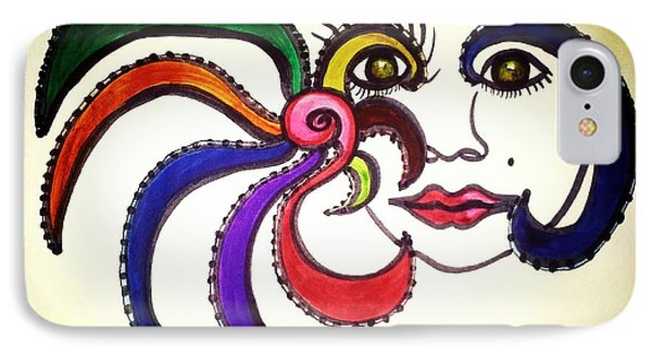 IPhone Case featuring the painting Facial Makeup 1 by Ayasha Loya