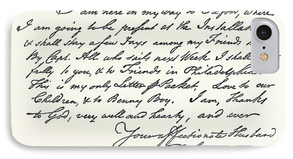 Facsimile Of A Letter From Benjamin Franklin IPhone Case by English School