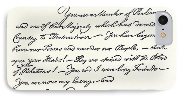 Facsimile Of A Letter From Benjamin Franklin To Mr IPhone Case by English School