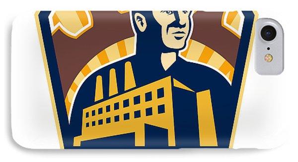 Factory Worker Building Cog Shield Retro Phone Case by Aloysius Patrimonio