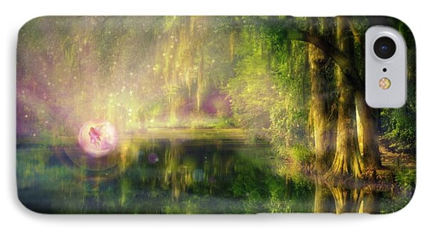 Fairy In Pink Bubble In Serenity Forest IPhone Case by Lilia D