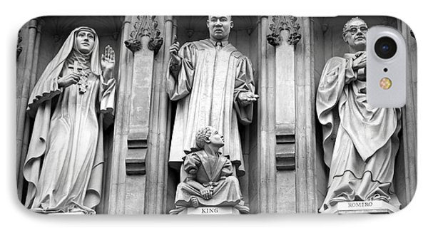 Faithful Witnesses -- Martin Luther King Jr Remembered With Bishop Romero And Duchess Elizabeth IPhone Case by Stephen Stookey