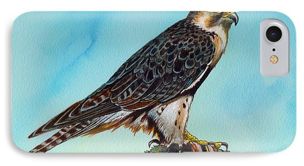 IPhone Case featuring the painting Falcon On Stump by Anthony Mwangi