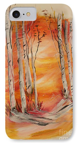 IPhone Case featuring the painting Fall Aspen On Paper by Janice Rae Pariza