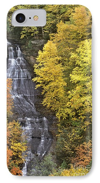 Fall Color Surrounds Chapel Falls On The Michigan Upper Peninsula IPhone Case by Dave Welling