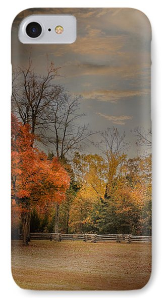 Fall Fenceline - Autumn Landscape Scene IPhone Case by Jai Johnson