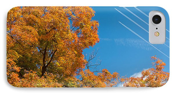 Fall Foliage With Jet Planes IPhone Case by Tom Mc Nemar