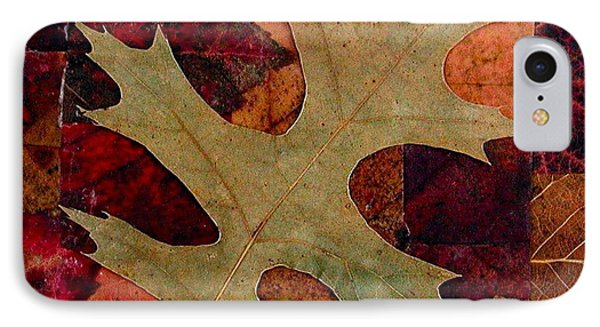 IPhone Case featuring the mixed media Fall Leaf Collage by Anna Ruzsan