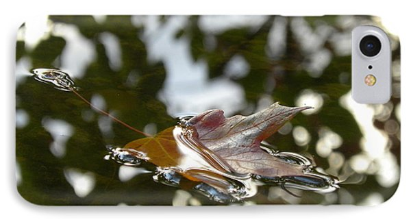 Fall Leaf In Stream Phone Case by Sheri Lauren Schmidt