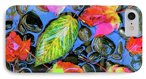 Fall Leaves On Black Rocks In Water IPhone Case