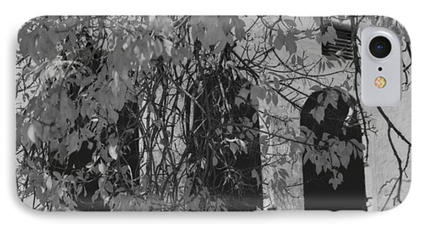 Fall Leaves On Open Windows Jerome Balck And White IPhone Case by Scott Campbell