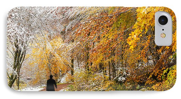 Fall Or Winter - Autumn Colors And Snow In The Forest Phone Case by Matthias Hauser