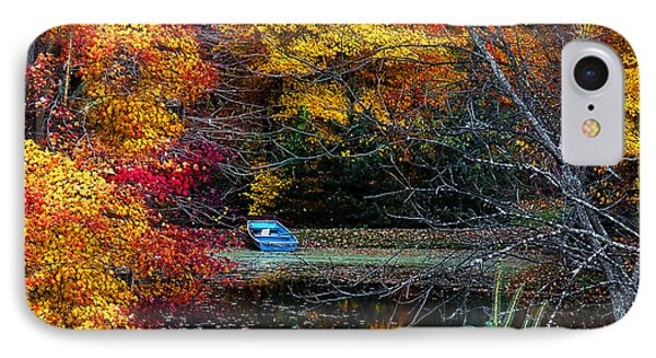 Fall Pond And Boat Phone Case by Tom Mc Nemar