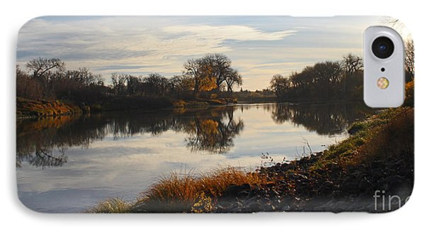 IPhone Case featuring the photograph Fall Red River At Sunrise by Steve Augustin