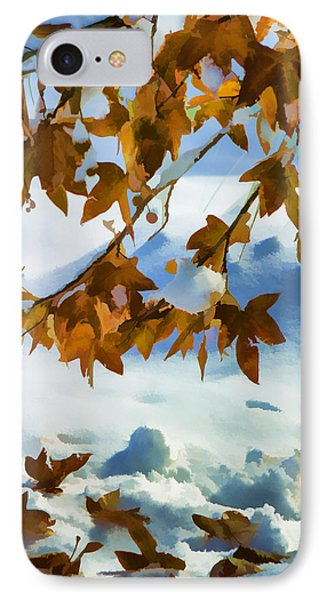 Fall Snow On Maple Impressionistic IPhone Case