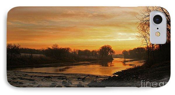 Fall Sunrise On The Red River IPhone Case