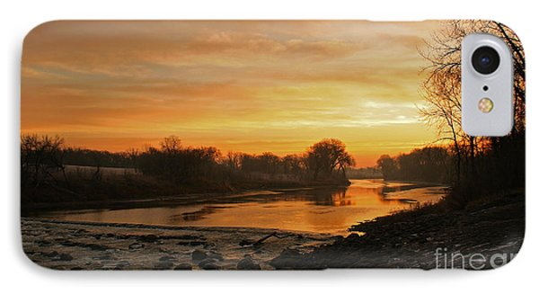 Fall Sunrise On The Red River Phone Case by Steve Augustin