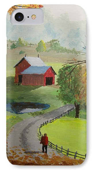 IPhone Case featuring the painting Fall Walk by Norm Starks