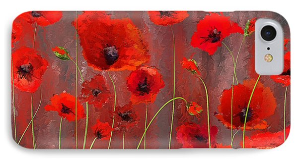 Fallen Memoirs- Red And Gray Art IPhone Case by Lourry Legarde