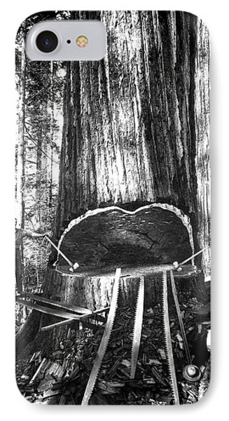 Falling A Giant Sequoia C. 1890 IPhone Case by Daniel Hagerman