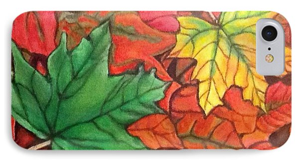 IPhone Case featuring the painting Falling Leaves 1 Painting With Quote by Kimberlee Baxter