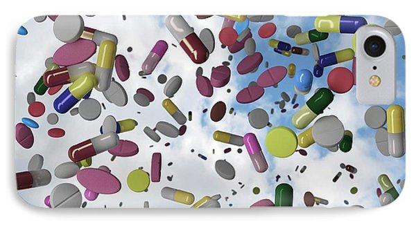 Falling Pills IPhone Case by Robert Brook