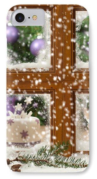 Falling Snow Window IPhone Case by Amanda Elwell